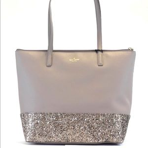 Kate Spade Penny Greta Court Gray Sparkle purse